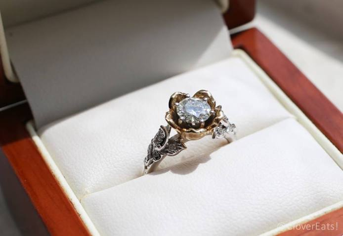 Moissanite ring from Etsy